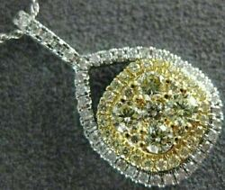 Estate Large .93ct White And Fancy Yellow Diamond 14k Two Tone Gold Square Pendant
