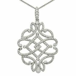 Estate Large .81ct Diamond 18kt White Gold Heart Leaf Butterfly Floating Pendant