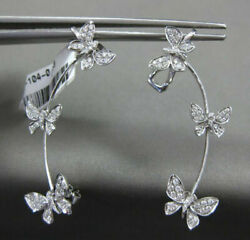 Estate Large .63ct Diamond 18kt White Gold Butterfly Clip On Stud Cuff Earrings