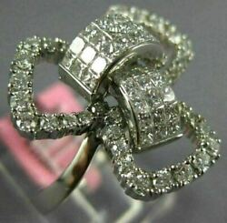 Estate Large 1.44ct Diamond 18kt White Gold 3d Round And Princess Flower Bow Ring