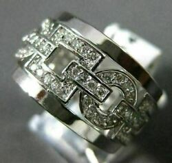Antique Wide .74ct Diamond 14kt White Gold 3d Round Square Link Fun Ring 15742