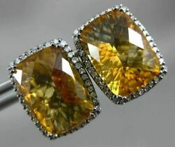 Large 3.37ct Diamond And Aaa Citrine 14kt White Gold Rectangular Clip On Earrings