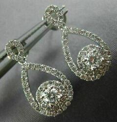 Estate .80ct Diamond 14kt White Gold Solitaire Infinity Flower Hanging Earrings