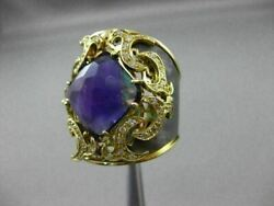 Antique 5.40ct Diamond And Amethyst 18kt Black And Yellow Gold 3d Filigree Fun Ring