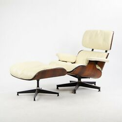RARE 1956 Herman Miller Eames Lounge Chair & Ottoman 670 671 Boot Glides Ivory 1