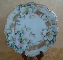 Antique Hand Painted Nippon Plate Scalloped Floral W/ Gold Gilt Ca. 1911-1921