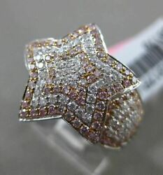 Estate Large .67ct White And Fancy Pink 18k 2 Tone Gold 3d Shooting Star Love Ring