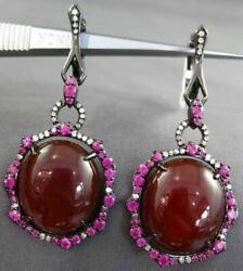 Antique Large 18.50ct Diamond And Sapphire And Agate 14k Black Gold Hanging Earrings