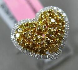 Estate Large Gia .70ct White And Intense Diamond 18k Two Tone Gold Heart Love Ring