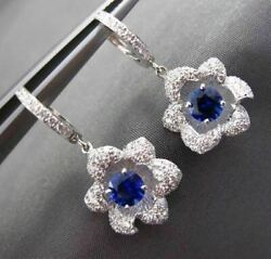 Antique 1.77ct Diamond And Aaa Sapphire 18kt White Gold 3d Hanging Flower Earrings
