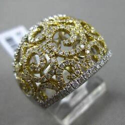 Estate Wide 1.11ct Diamond 18kt Two Tone Gold 3d Open Filigree Cocktail Ring