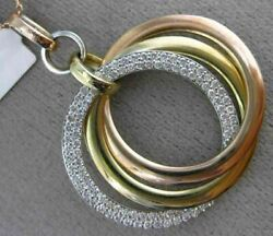 Large .85ct Diamond 14kt Tri Color Gold 3d Circle Of Life Intertwining Pendant