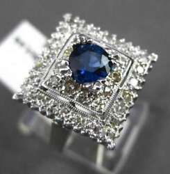 Antique Large 1.61ct Diamond And Sapphire 14k White Gold 3d Square Engagement Ring