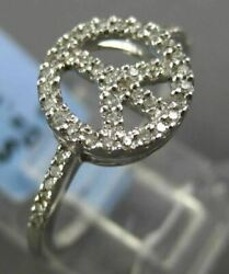 Estate .15ct Round Diamond 14kt White Gold 3d Open Peace Sign Friendship Ring