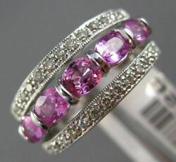 Estate Wide 1.72ct Diamond And Pink Sapphire 14kt White Gold 6 Stone Wedding Ring