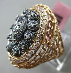 Antique Extra Large 1.0ct Diamond 14k Rose And Black Gold 3d Oval Handcrafted Ring