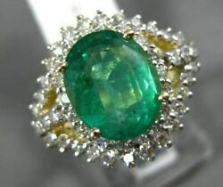 Estate Large 3.78ct Diamond And Emerald 14kt 2 Tone Gold Oval Halo Engagement Ring