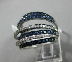 Estate Large 4.05ct Diamond And Aaa Sapphire 18kt White Gold 3d Multi Row Fun Ring
