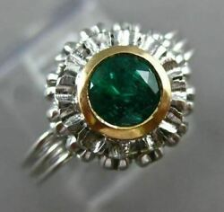 Antique 1.15ct Aaa Emerald 14k 2tone Gold Bezel Solitaire Flower Engagement Ring