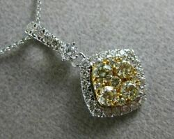 Estate .73ct White And Fancy Yellow Diamond 14kt Two Tone Gold 3d Square Pendant