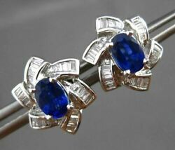 Antique 1.74ct Diamond And Aaa Sapphire 18kt White Gold 3d Star Flower Earrings