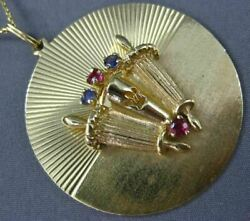 Estate Large .50ct Sapphire And Ruby 14k Yellow Gold 3d Torah Scroll Round Pendant