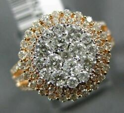 Estate Large 1.40ct Diamond 14kt Rose Gold 3d Cluster Double Halo Multi Row Ring