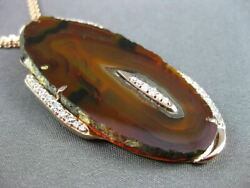 Antique Long .85ct Diamond And Agate 14kt Rose Gold 3d Floating Italian Necklace