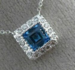 Estate 1.0ct Round Diamond And Blue Topaz 14kt White Gold 3d Halo Classic Necklace