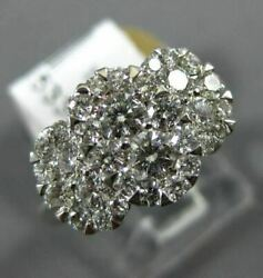 Estate Wide 1.23ct Diamond 18kt White Gold Cluster Oval Past Present Future Ring