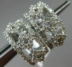 Estate Wide 1.80ct Diamond 18kt White Gold 3d Umbrella Clip On Hanging Earrings