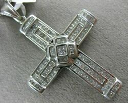 Estate Extra Large 2.75ct Diamond 14kt White Gold 3d Handcrated Cross Pendant