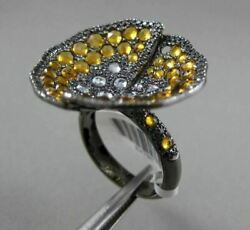 Antique Large 2.48ct Diamond And Aaa Citrine 14kt Black Gold 3d Filigree Ring