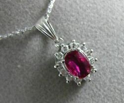 Estate 1.65ct Diamond And Aaa Ruby Platinum 3d Halo Oval Classic Floating Pendant