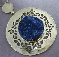 Antique Large And Long Sliced Sapphire 14kt Yellow Gold Circular Filigree Necklace