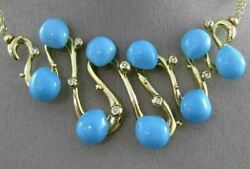 Estate Large .17ct Diamond Turquoise 14kt Yellow Gold Multi Wave Toggle Necklace