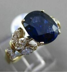 Antique Large 3.64ct Diamond And Sapphire 14kt Yellow Gold 3d Oval Engagement Ring