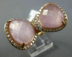 Estate Large 8.44ct Round Diamond And Aaa Pink Quartz 14kt Rose Gold 3d Bow Ring