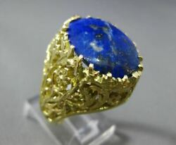 Antique Large 18kt Yellow Gold Handcrafted Blue Lapis Oval Filigree Ring 25391