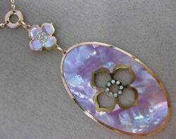Estate .20ct Diamond 14k Rose Gold Mother Of Pearl Etoile Flower Lariat Necklace
