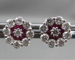 Antique 1.0ct Diamond And Aaa Ruby 18kt White Gold 3d Flower Stud Earrings 9mm