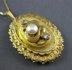 Antique Large .16ct Old Mine Diamond And Pearl 14kt Y Gold Victorian Pendant 3066