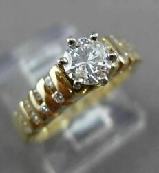 Estate .86ct Diamond 14kt Yellow Gold 3d Channel Pyramid Engagement Ring 1857