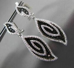 Estate 3.0ct White And Black Diamond 14kt White Gold Leaf Hanging Clip On Earrings