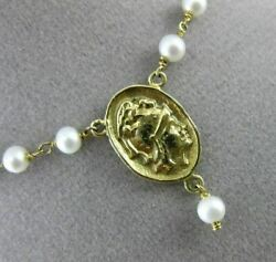 Antique Aaa Pearl 14kt Yellow Gold Rosary Y Roman Soldier Lariat Necklace 23489