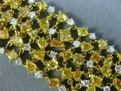 ESTATE WIDE 27.65CT WHITE & YELLOW DIAMOND 18KT 2 TONE GOLD ETOILE LOVE BRACELET