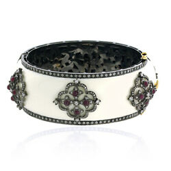 2.9ct Ruby Pave Diamond 18kt Gold Enamel Bangle 925 Sterling Silver Gift Jewelry