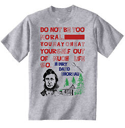 HENRY THOREAU MORAL QUOTE - NEW COTTON GREY TSHIRT