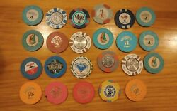 Lot Of 23 Vintage 1 And .50 Cent Casino Chips