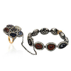 4.44ct Diamond 18kt Gold 925 Sterling Silver Gemstone Bracelet With Ring Jewelry